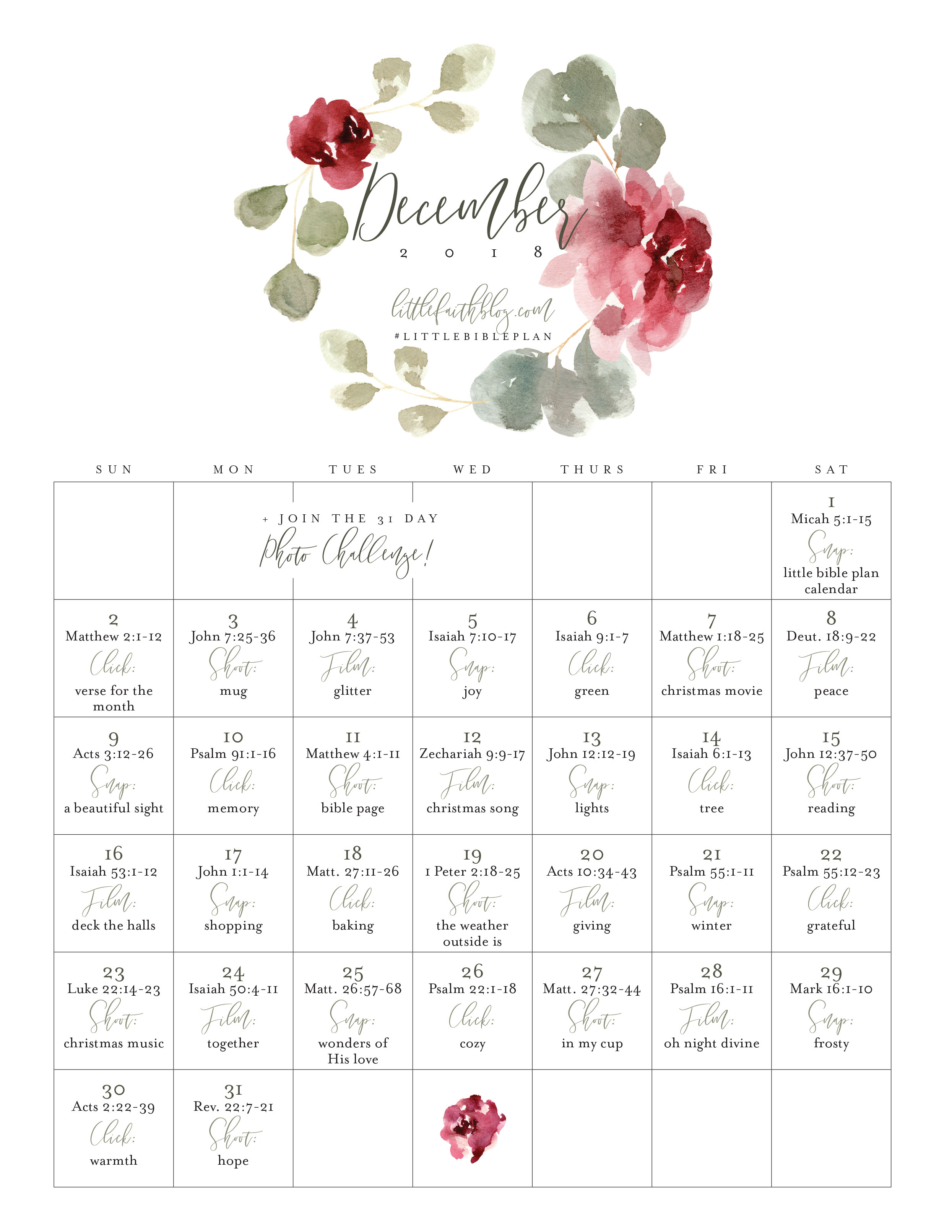 December 2018 Bible Reading Plan + Photo a Day Challenge